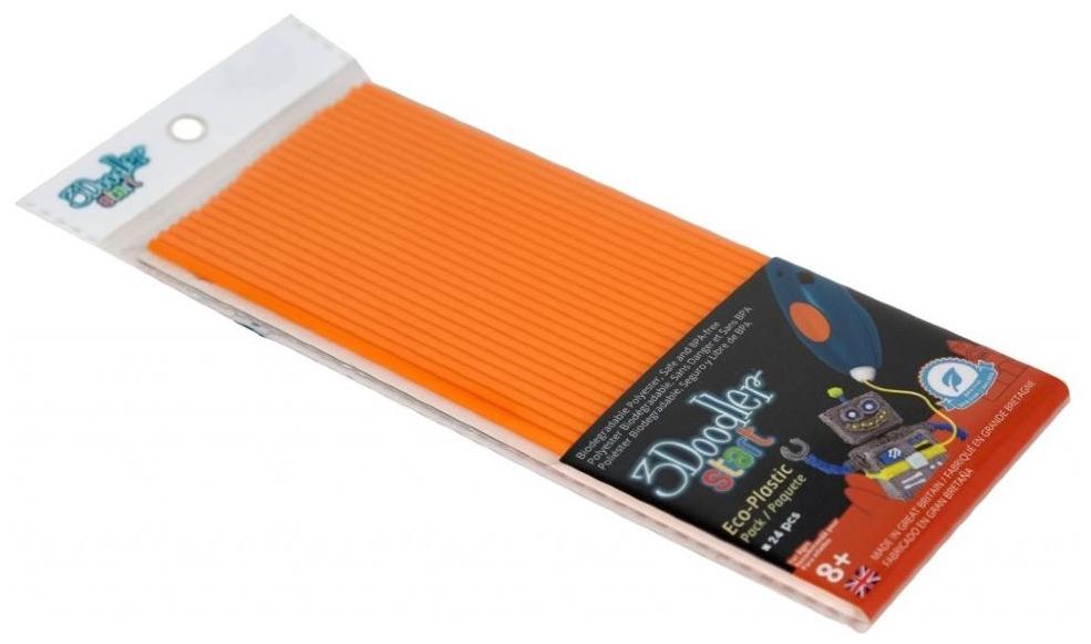Купить Эко-пластик к 3Д ручке 3Doodler Start, цвет оранжевый 24 шт, Wobble Works, 3D ручки