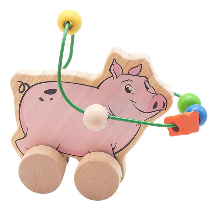 Купить Каталка детская Мир Деревянных Игрушек Свинья, Игрушечные машинки