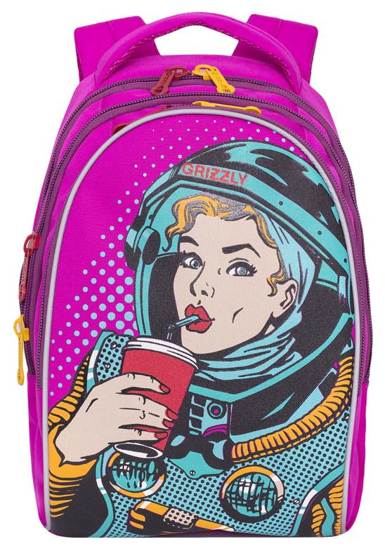 Купить Рюкзак городской Grizzly RD-758-1/1 Фиолетовый, Школьные рюкзаки для девочек