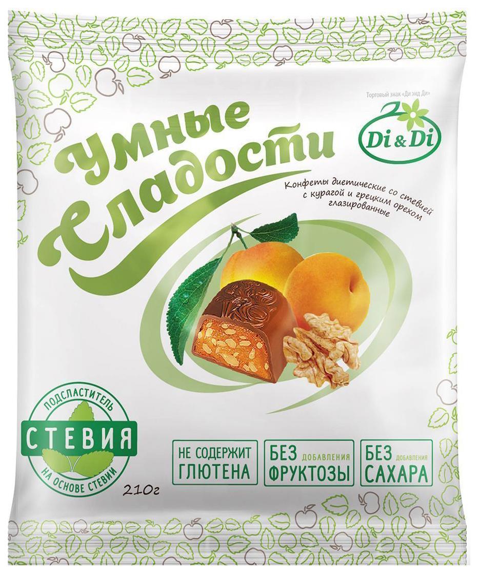 Конфеты со стевией Умные сладости с курагой и грецким орехом глазированные 210 г