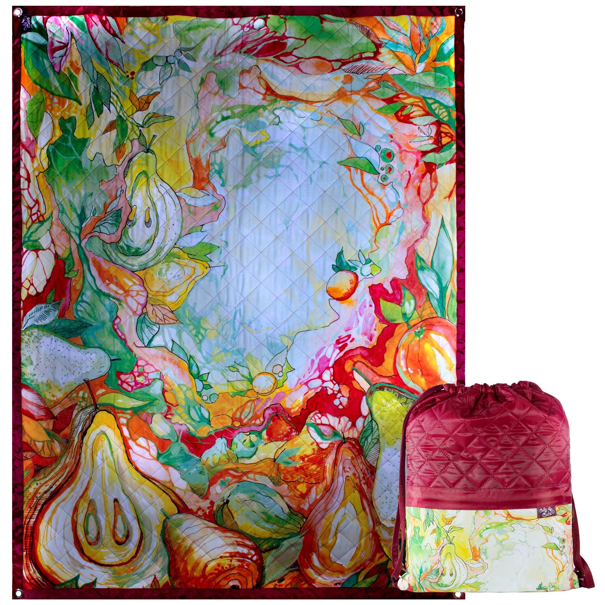 Пляжный коврик с рюкзаком OnlyCute «Сказочный сад» бордо