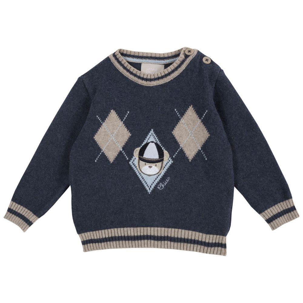 Купить 9069292, Джемпер детский Chicco р.074 принт медведь цвет темно-синий, Кофточки, футболки для новорожденных