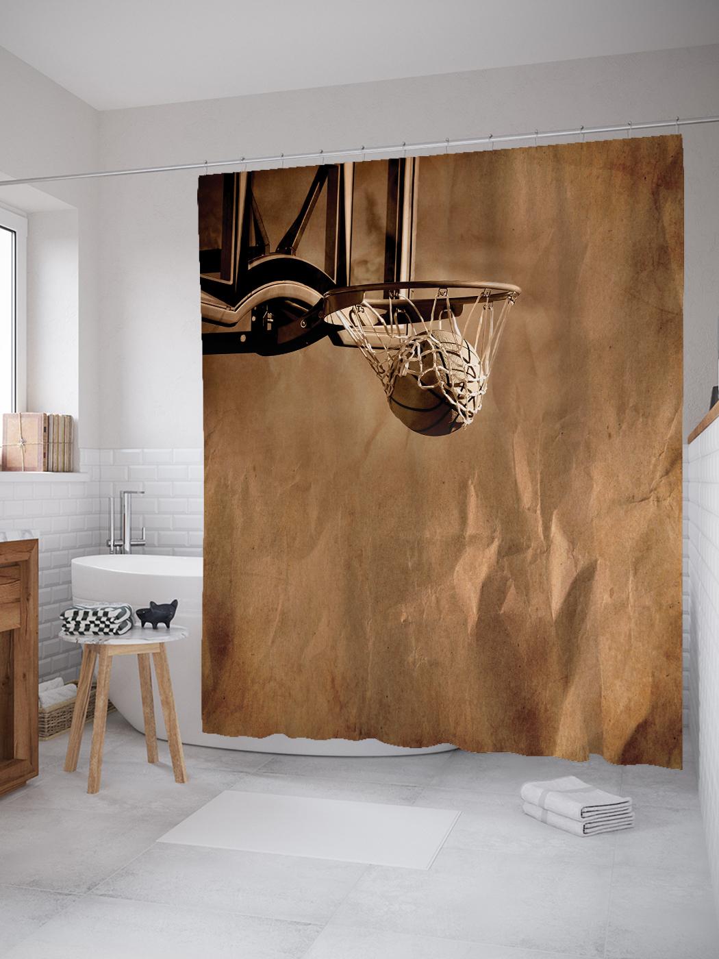 Штора для ванной JoyArty «Баскетбольное кольцо» из ткани, 180х200 см с крючками
