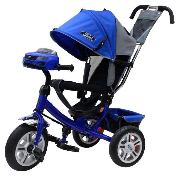 Купить Трехколесный велосипед Ford Explorer с ручкой управления (свет, звук), синий, NoBrand, Детские велосипеды-коляски