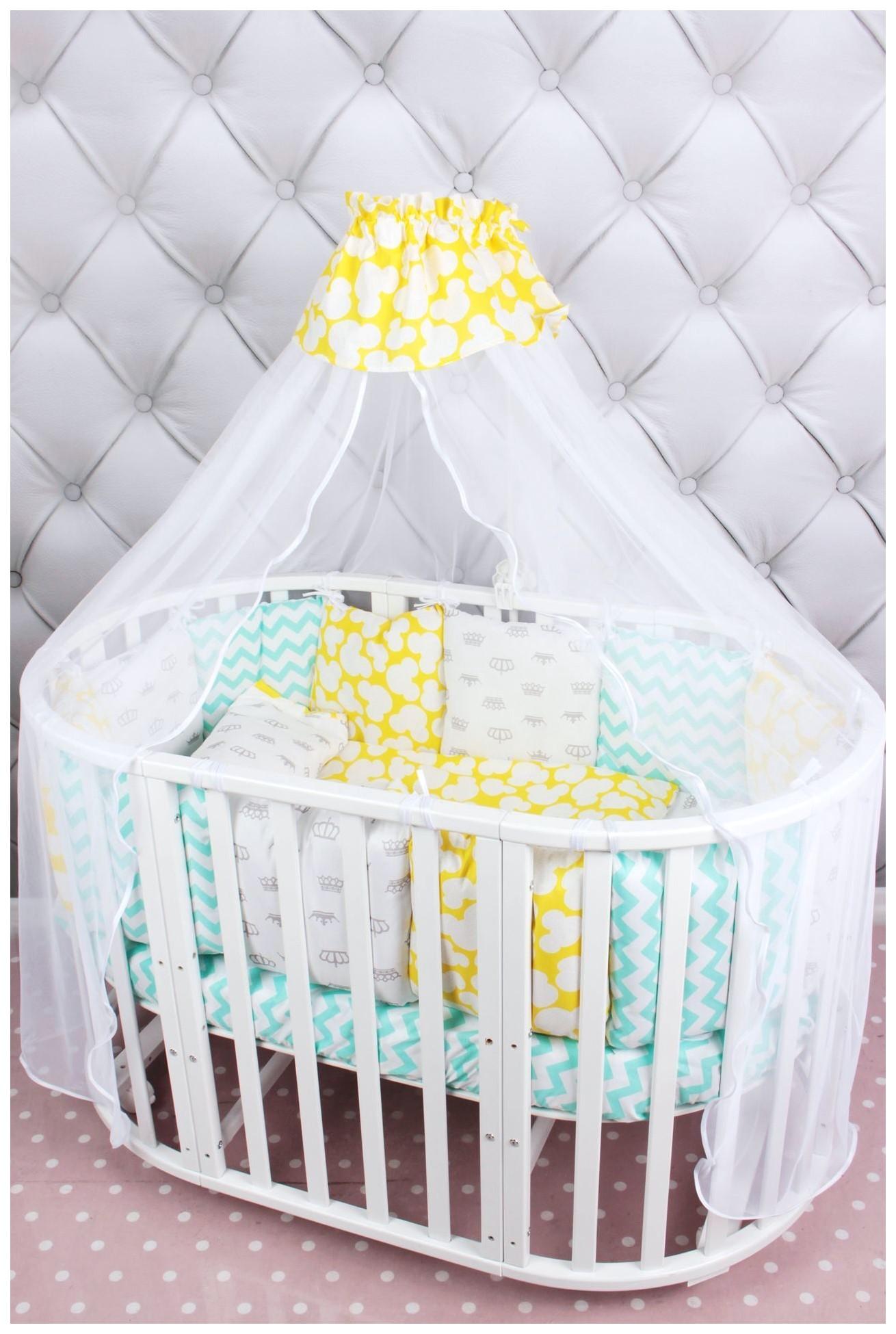 Комплект постельного белья в кроватку AmaroBaby Happy baby Premium, мятно-желтый