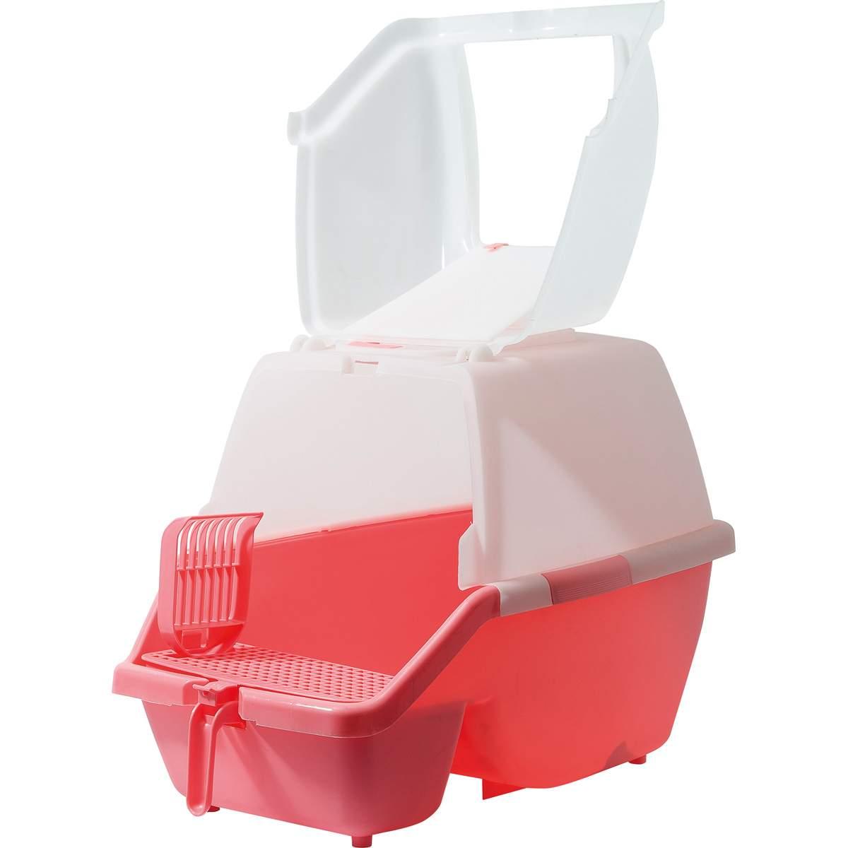 Туалет для кошек ZooOne, прямоугольный, розовый, белый,