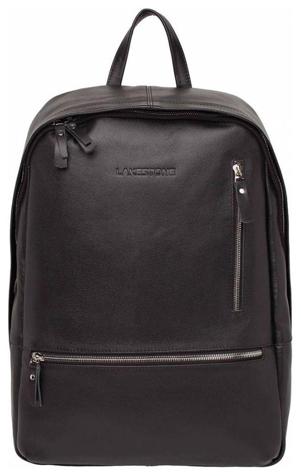 Рюкзак кожаный Lakestone Adams черный 14 л фото