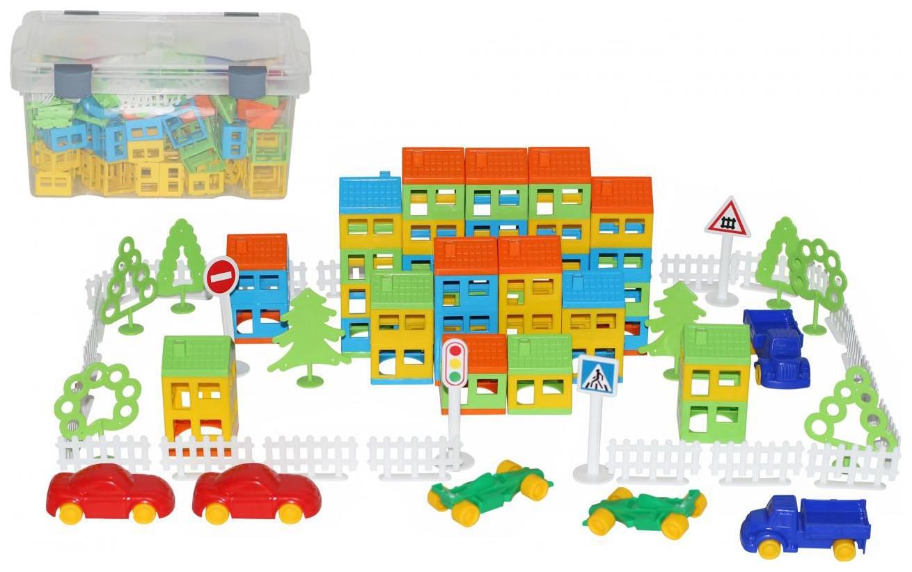 Конструктор пластиковый Полесье Построй свой город 224 элемента в контейнере