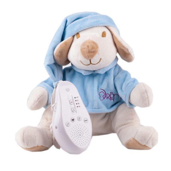 Купить Игрушка-комфортер Собачка DrЁma BabyDou для сна, с белым и розовым шумом, голубой, Drёma babydou, Комфортеры для новорожденных