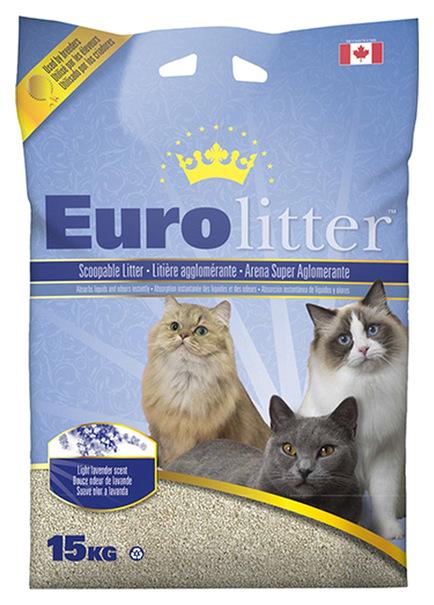 Комкующийся наполнитель для кошек Eurolitter бентонитовый, лаванда,