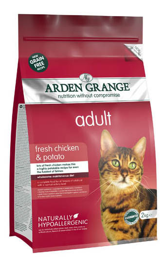 Сухой корм для кошек Arden Grange, беззерновой, курица, картофель, 2кг