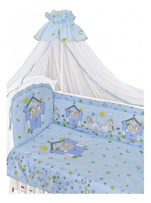 Комплект в кроватку Золотой гусь Лошадки 7 предметов голубой