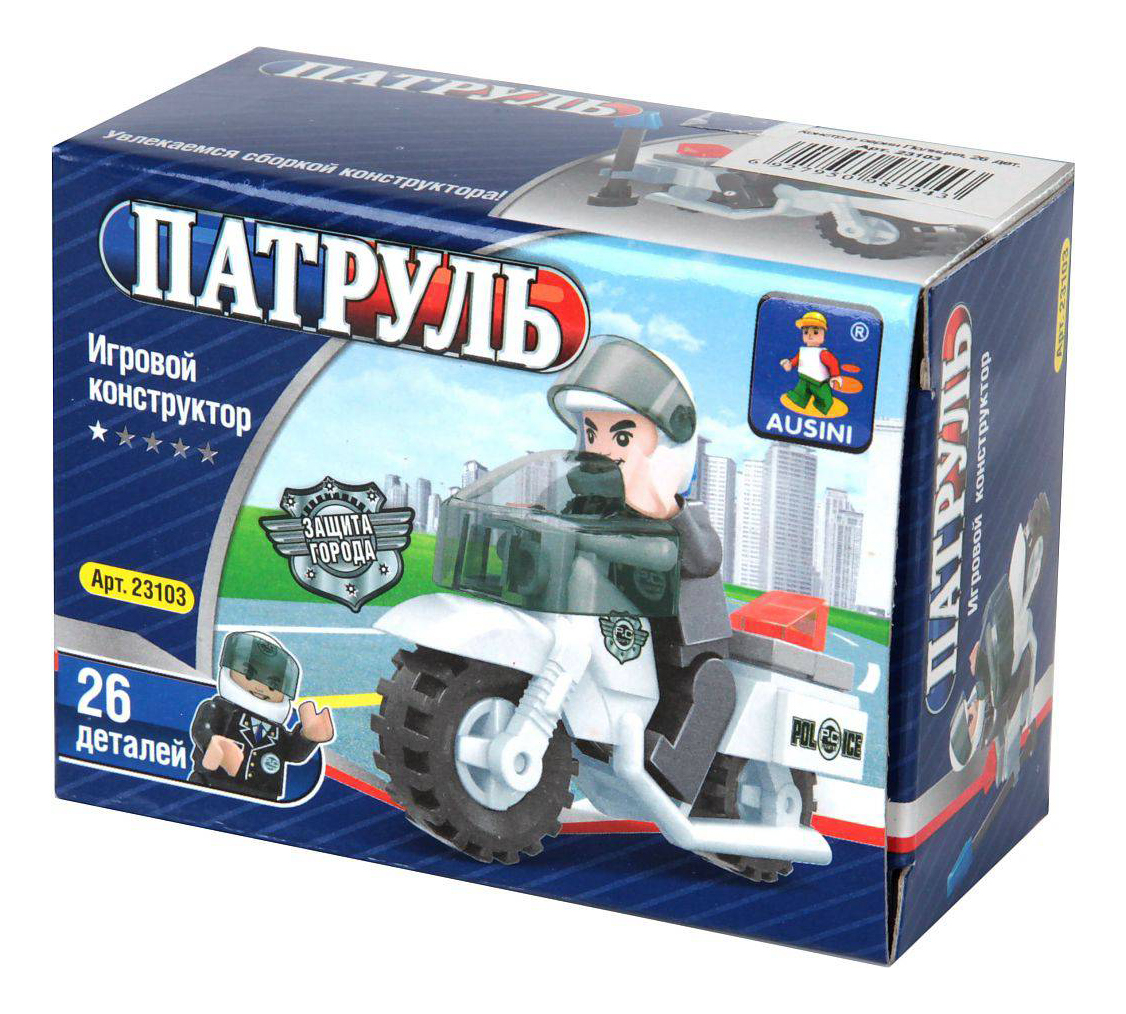 Купить Конструктор пластиковый Ausini Полицейский на мотоцикле, Конструкторы пластмассовые