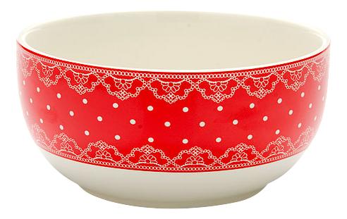 Супница LORAINE Красный в горошек с кружевом