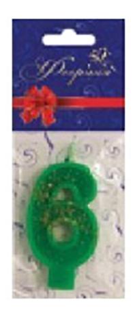 Свеча для торта цветная Цифра 6