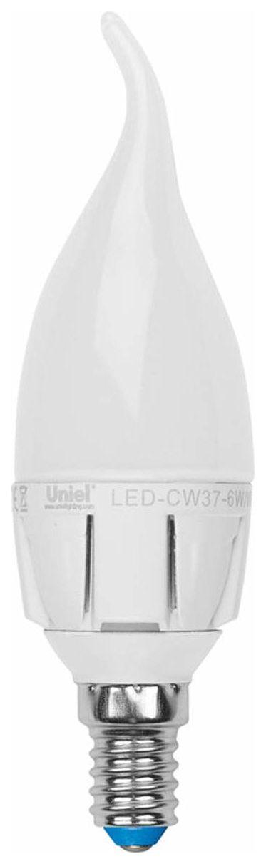 Лампа светодиодная (08137) E14 6W 3000K LED-CW37-6W/WW/E14/FR ALM01WH