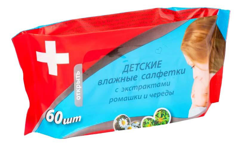 Купить Салфетки влажные для детей MiniMax С экстрактами ромашки и череды 60 шт., Детские влажные салфетки