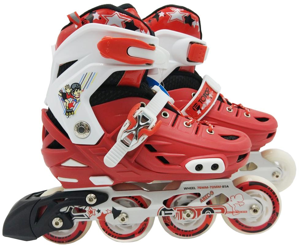 Роликовые коньки (светятся колеса), красные, 39
