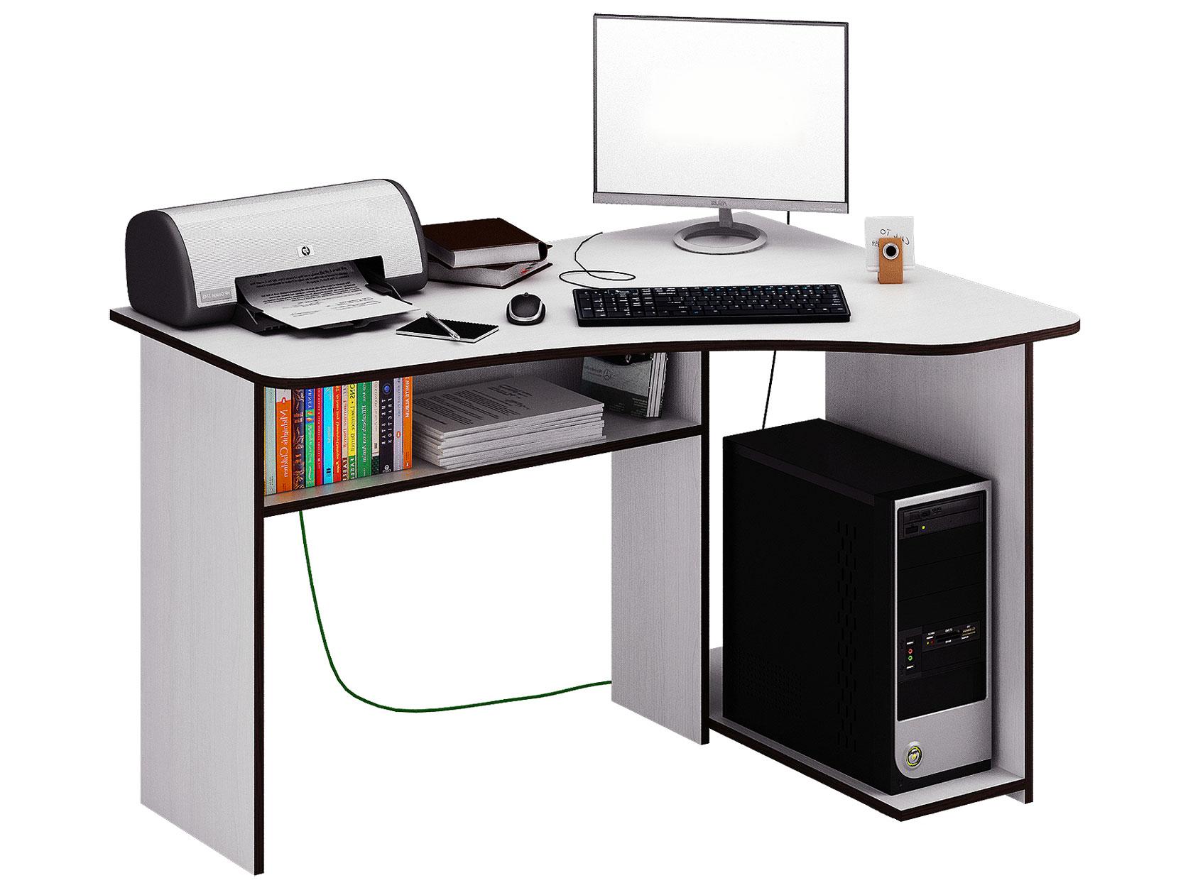 Компьютерный стол МФ Мастер Триан-1 120x90x75, белый