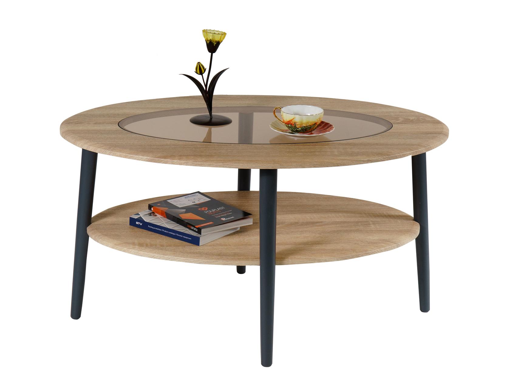Журнальный столик Калифорния мебель Стол журнальный Эль со стеклом СЖС-01 Дуб сонома