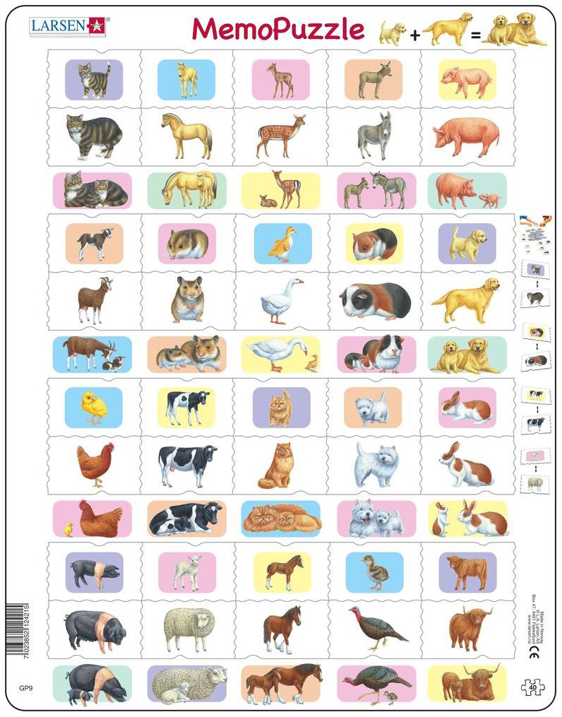 Дидактическая игра Larsen Мемопазл Животные С Детёнышами