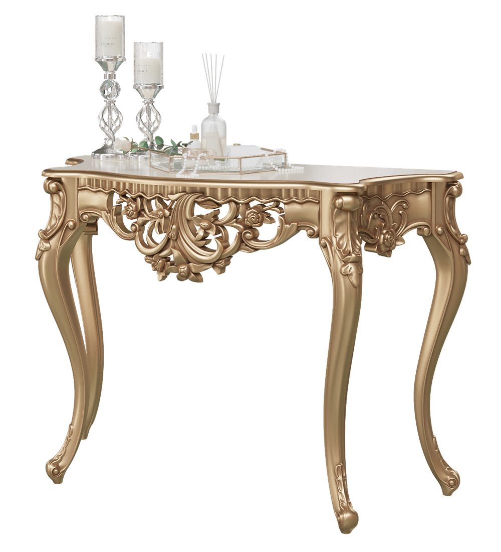 Консоль Мэри-Мебель КН-01, цвет золото, 122х48х82 см. фото