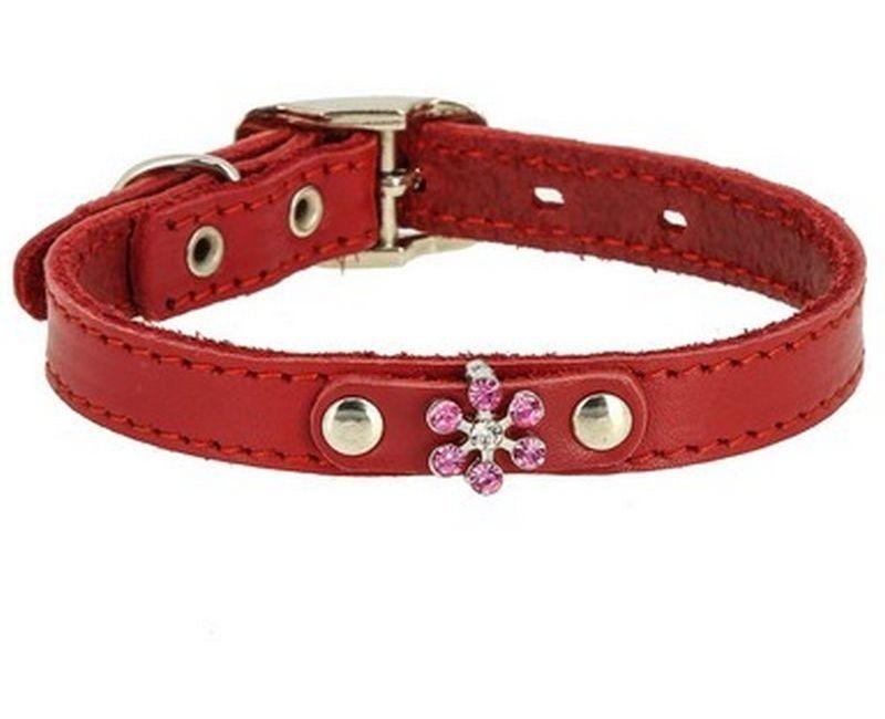 Ошейник Каскад Флер кожаный с украшением Цветок со стразами красный для собак 15ммх24-30см