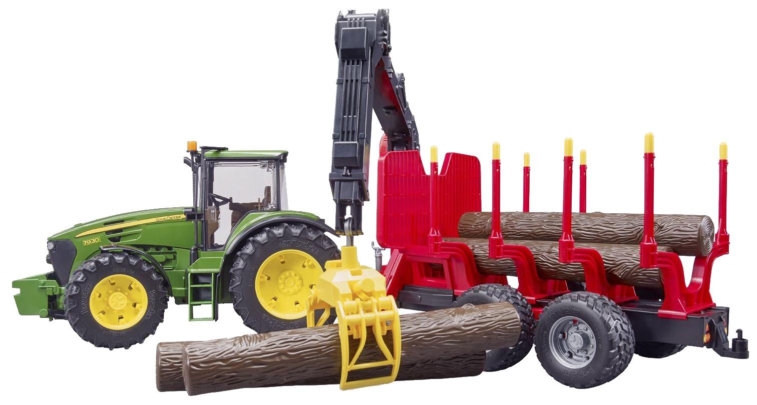 Купить Трактор John Deere, c прицепом, манипулятором и 4 брёвнами, Bruder,