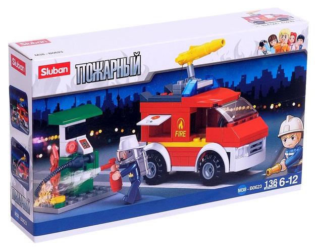 Конструктор Пожарный фургон 136 деталей Sluban