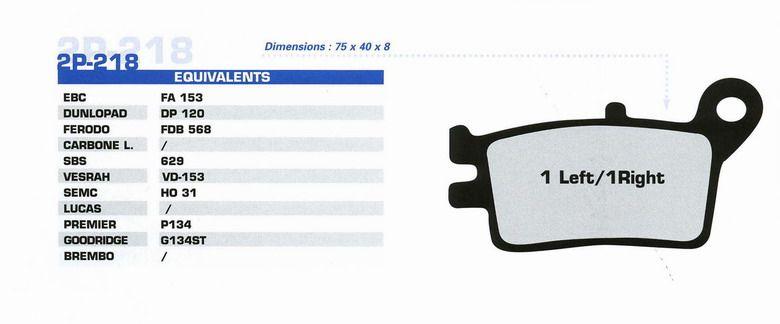 Тормозные колодки Nissin 2P 218GS для мотоциклов