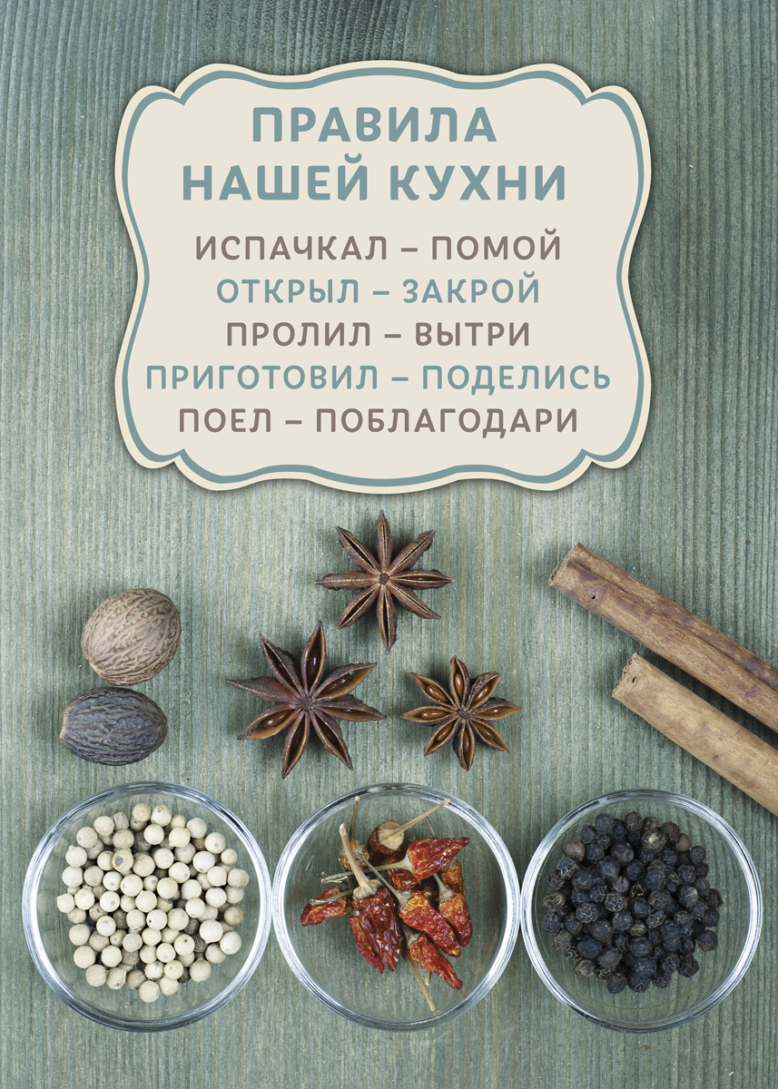 Картина на холсте 50x70 Правила Кухни 2 Ekoramka HE-101-223