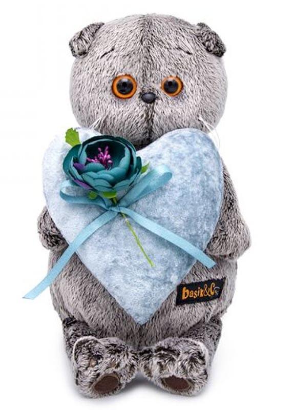 Мягкая игрушка Basik#and#Co Кот Басик с сердцем из бархата 19см