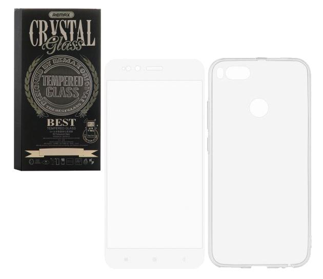 Универсальный чехол для Xiaomi Mi 5x Remax GL-08 Crystal Glass Full White