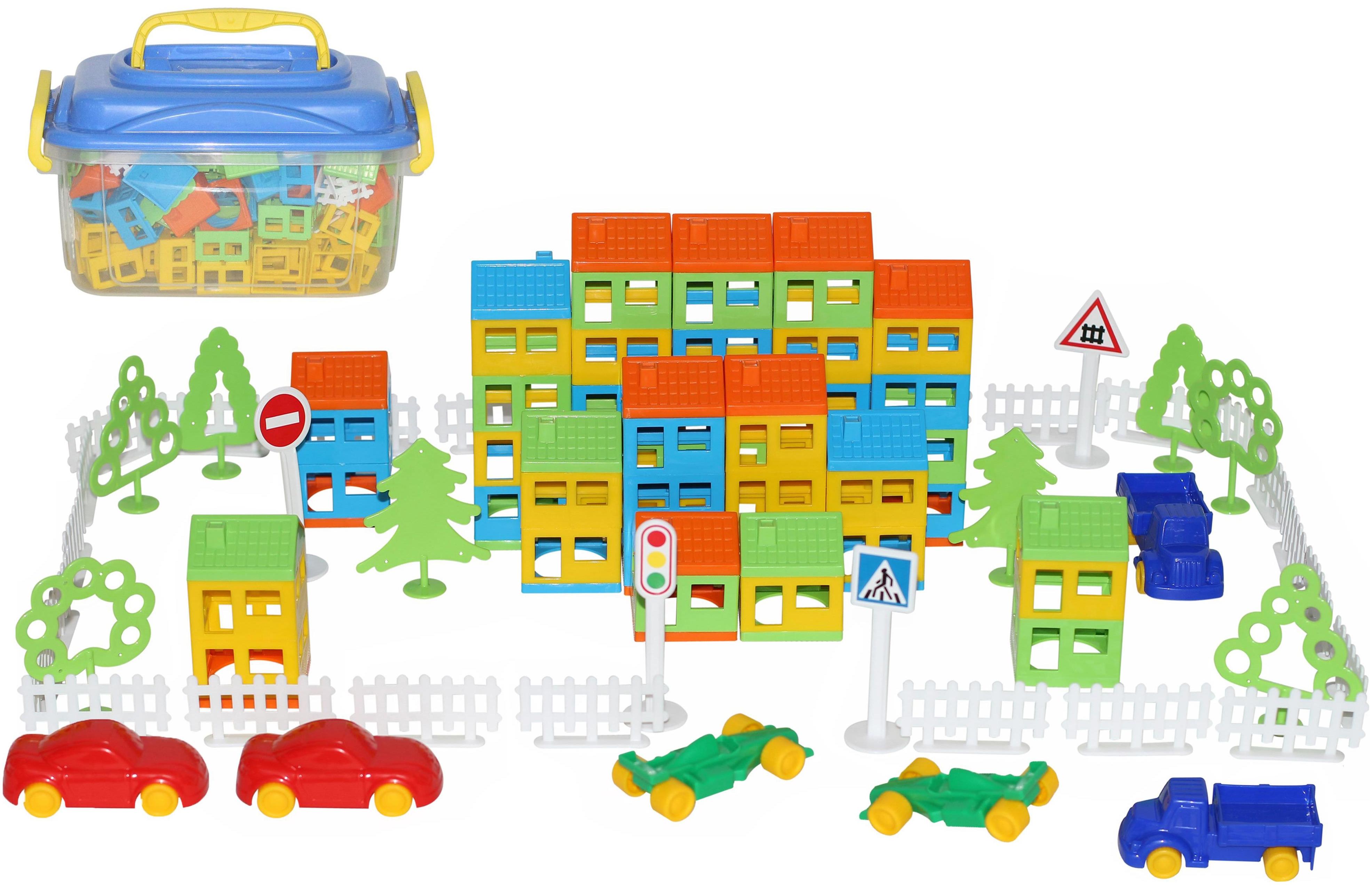 Купить Игрушки, Конструктор пластиковый Полесье Построй свой город 180 элементов в контейнере,