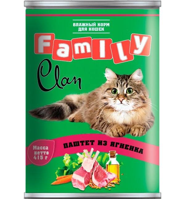 Консервы для кошек Clan Family, ягненок, 415г