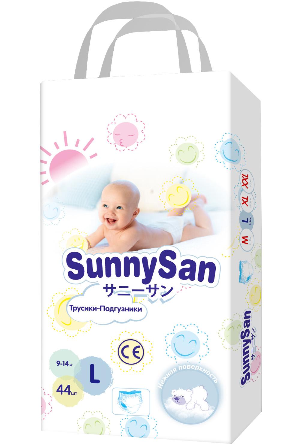 Купить Трусики-подгузники SunnySan L 9-14 кг 44 шт., Подгузники-трусики