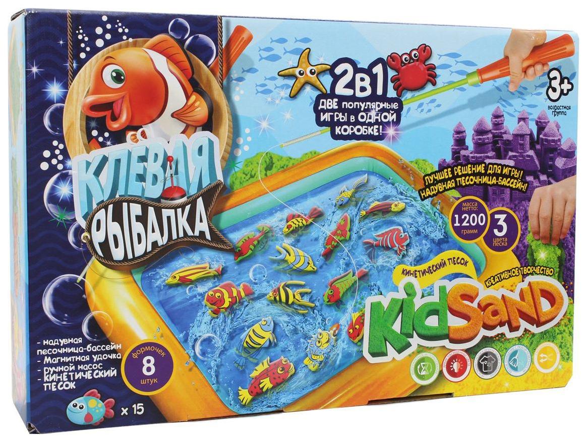 Купить Игра настольная DANKO TOYS 2 в 1 Клевая рыбалка и кинетический песок KRKS-01-01, Семейные настольные игры
