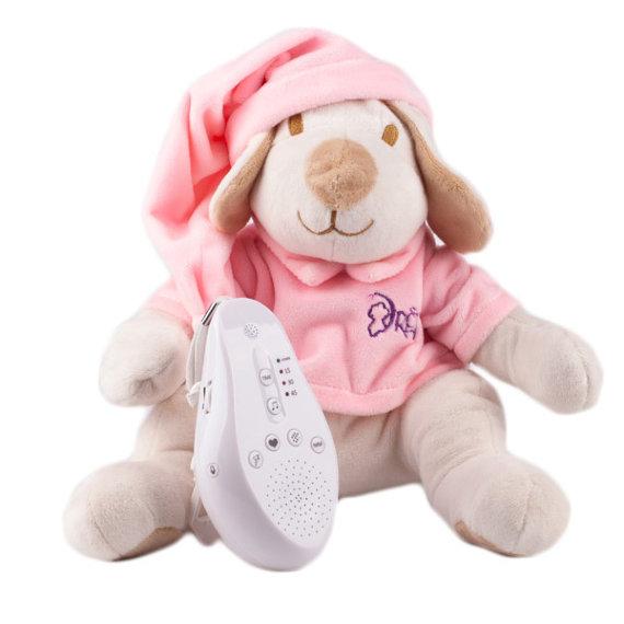 Купить Игрушка-комфортер Собачка DrЁma BabyDou для сна, с белым и розовым шумом, розовый, Drёma babydou, Комфортеры для новорожденных