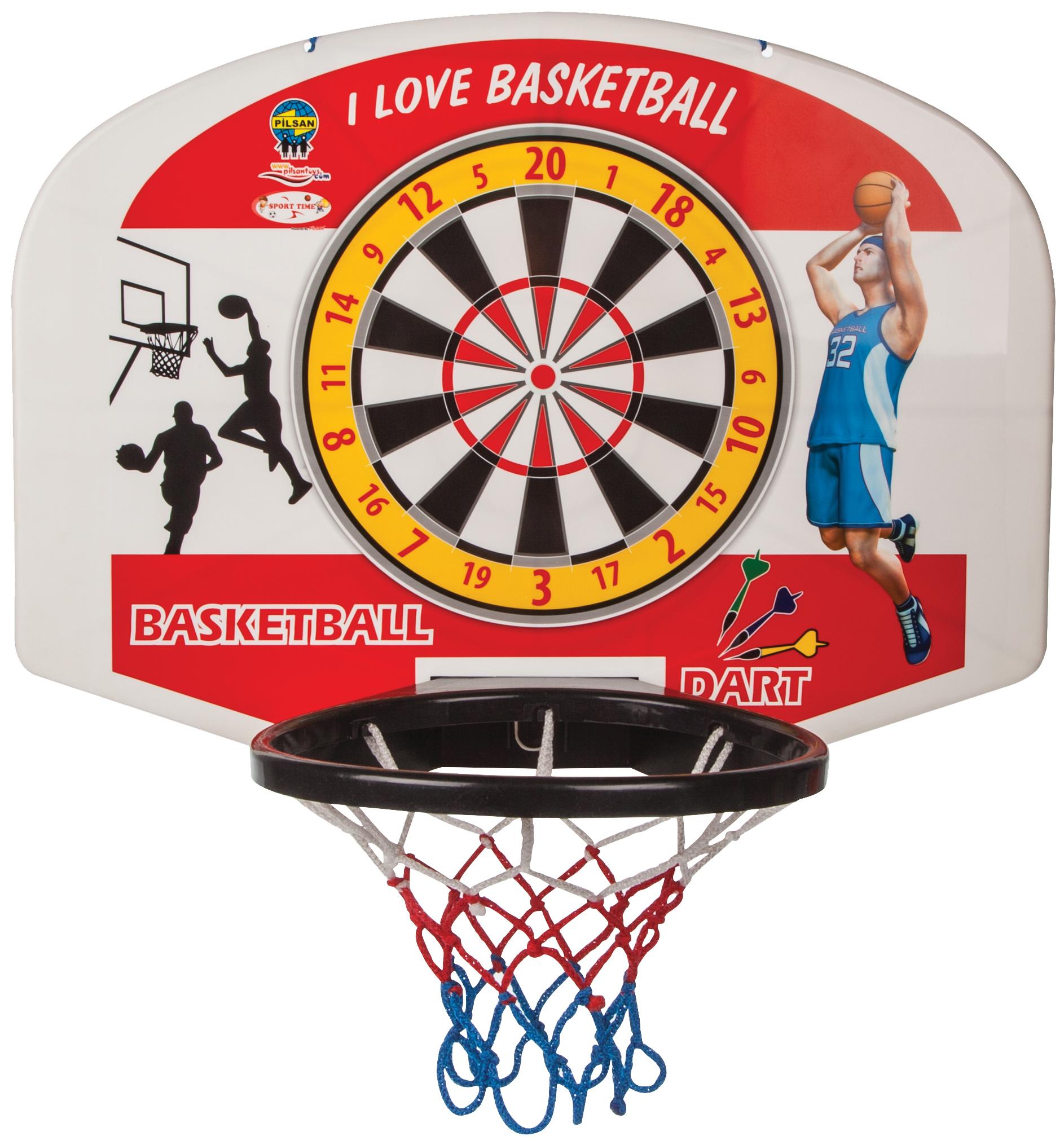 Баскетбольное кольцо Pilsan с мячом и дартсом