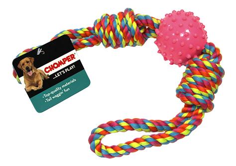 Грейфер для собак Chomper Тяни-толкай мяч с петлями из каната фото