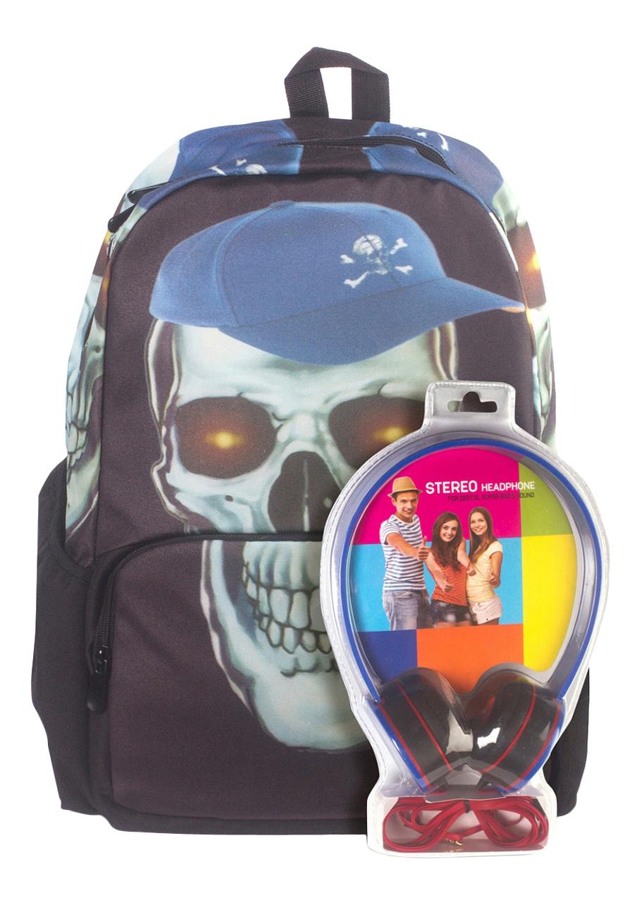 Рюкзак 3D Bags Роджер-Бейсболка черно-голубой с наушниками фото