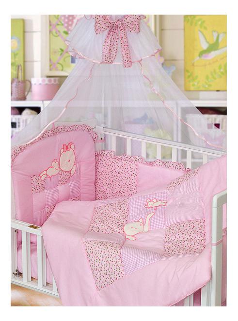 Комплект в кроватку Золотой гусь Кошки-мышки 7 предметов розовый