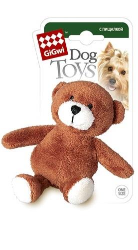 Игрушка-пищалка для собак GiGwi Медведь, коричневый, зеленый, длина 10 см