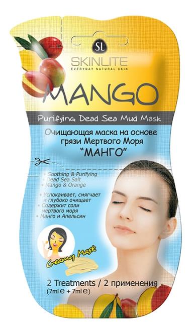 Очищающая маска на основе грязи Мертвого Моря SKINLITE Манго 2шт фото