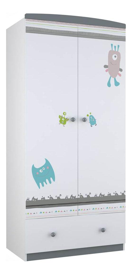 Купить Шкаф детский Polini Basic Монстрики белый-серый, Шкафы в детскую комнату