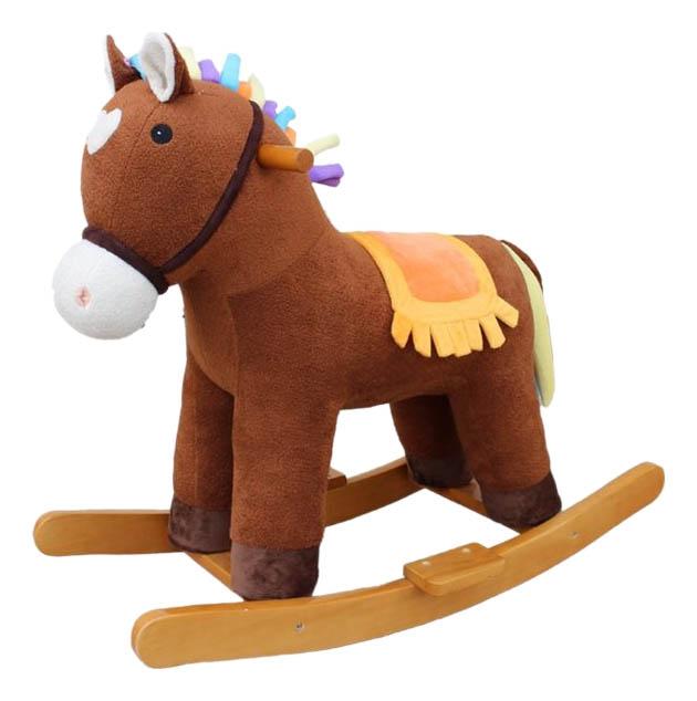Купить Лошадка-качалка Мультик коричневый 65 см Shantou Gepai 611034, Качалки детские