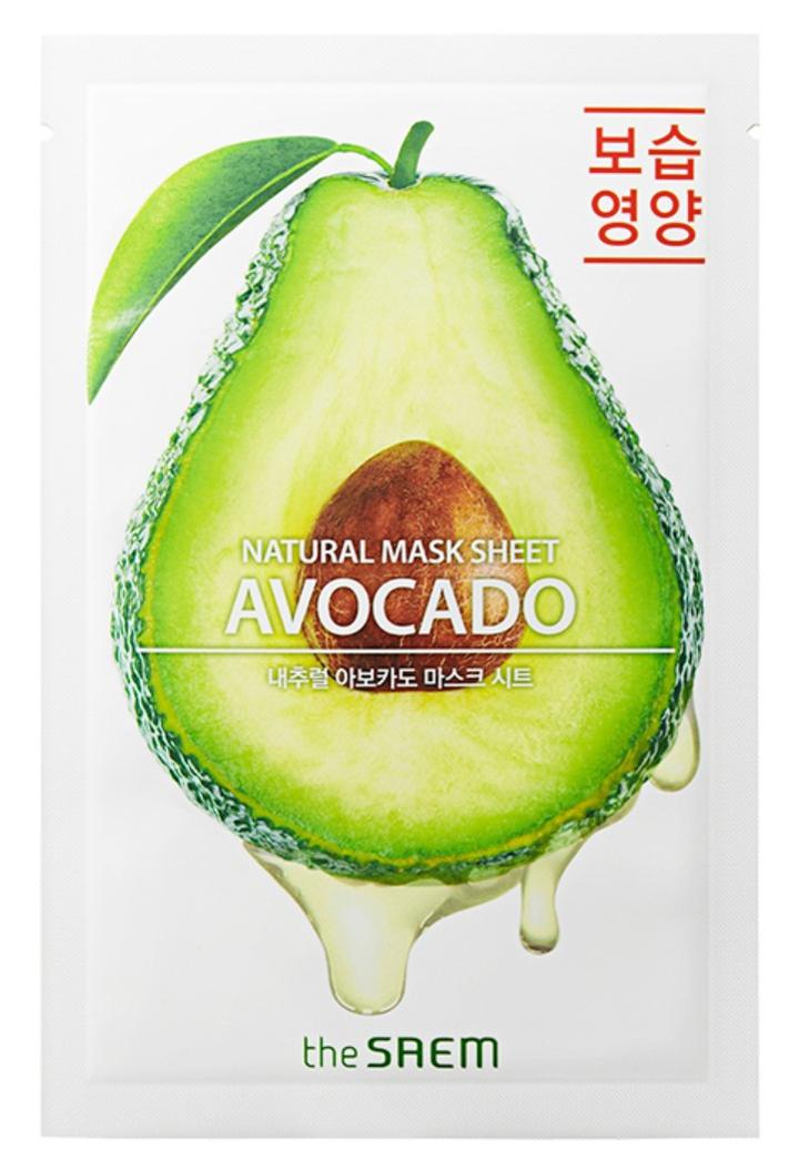 Купить Маска тканевая THE SAEM с экстрактом авокадо Natural Avocado Mask Sheet 21мл