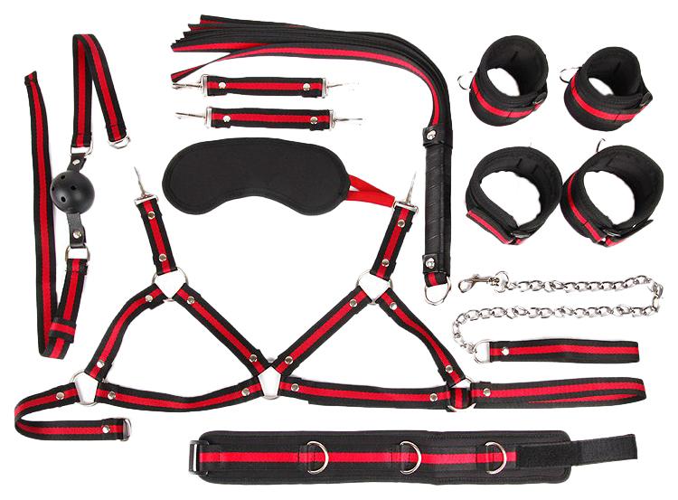 Набор БДСМ Bior toys черно-красный: наручники, оковы, ошейник, кляп, маска, плеть, лиф