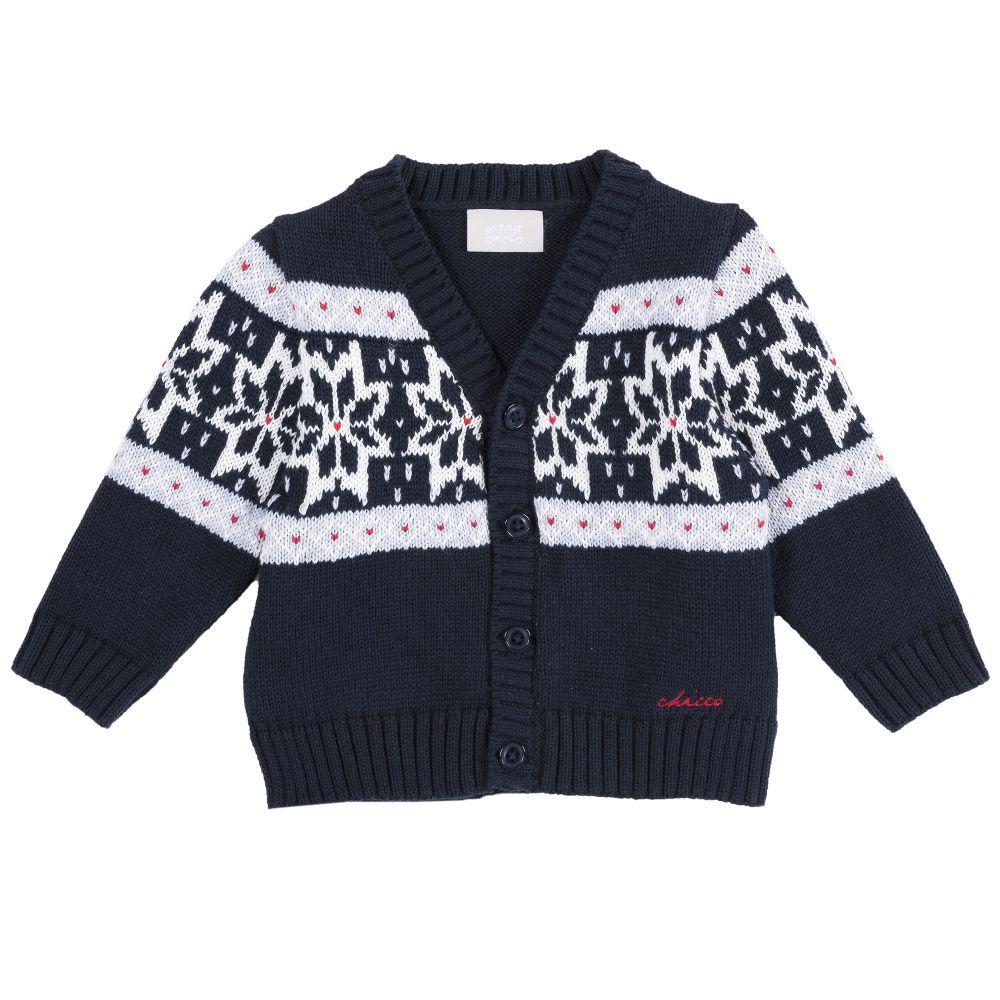 Купить 9096770, Кардиган детский Chicco с узором р.92 цвет темно-синий, Кофточки, футболки для новорожденных