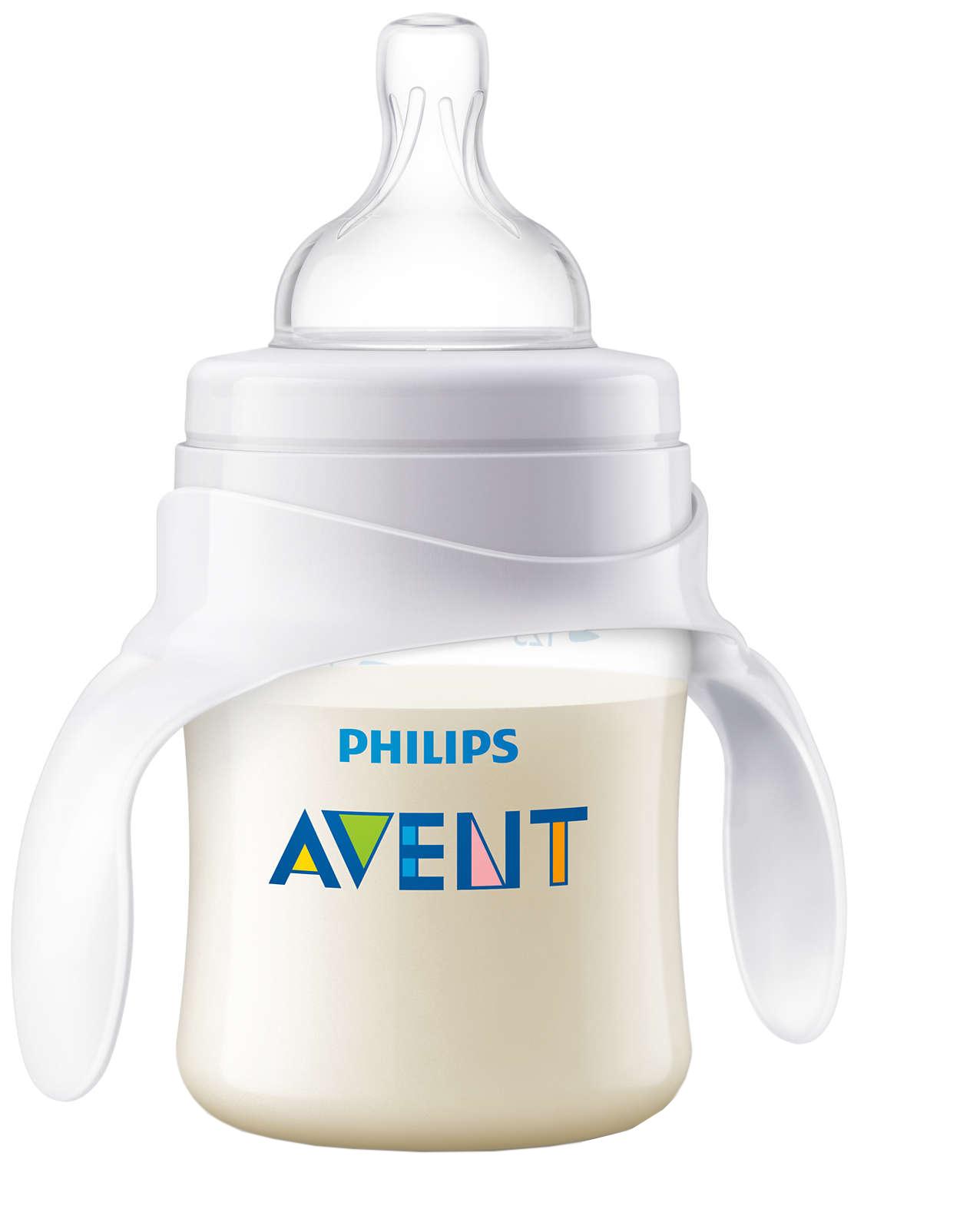 Тренировочный набор Philips Avent PP: Бутылочка 125 мл, Соска, ручки фото